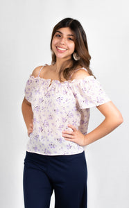 FLORAL COLD SHOULDER TOP - 512 In Style