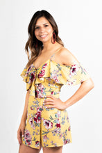 Load image into Gallery viewer, FLORAL PRINT COLD SHOULDER RUFFLED SURPLICE ZIP UP BOHO ROMPER - 512 In Style