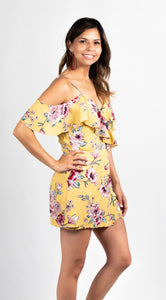 FLORAL PRINT COLD SHOULDER RUFFLED SURPLICE ZIP UP BOHO ROMPER - 512 In Style
