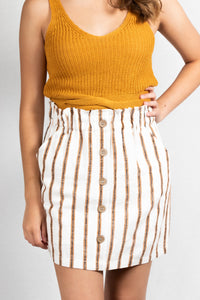 STRIPED BUTTON DETAIL SKIRT - 512 In Style