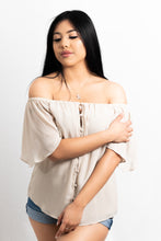 Load image into Gallery viewer, OFF SHOULDER BUTTON DOWN BLOUSE - 512 In Style
