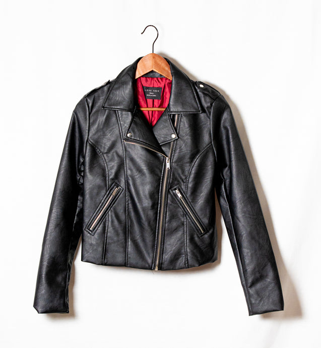 FAUX LEATHER JACKET WITH BACK EMBROIDER - 512 In Style