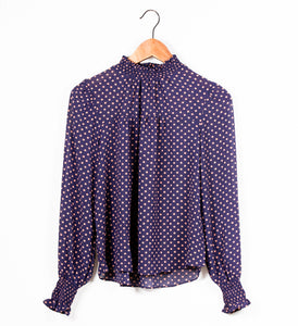 HALF NECK SMOCKING FRONT SHIRRING BLOUSE - 512 In Style