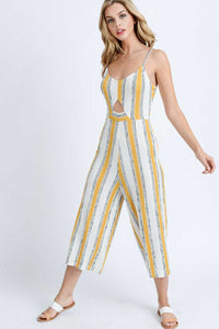 MULTI COLOR STRIPED V-NECK CUTOUT DETAIL JUMPSUIT - 512 In Style