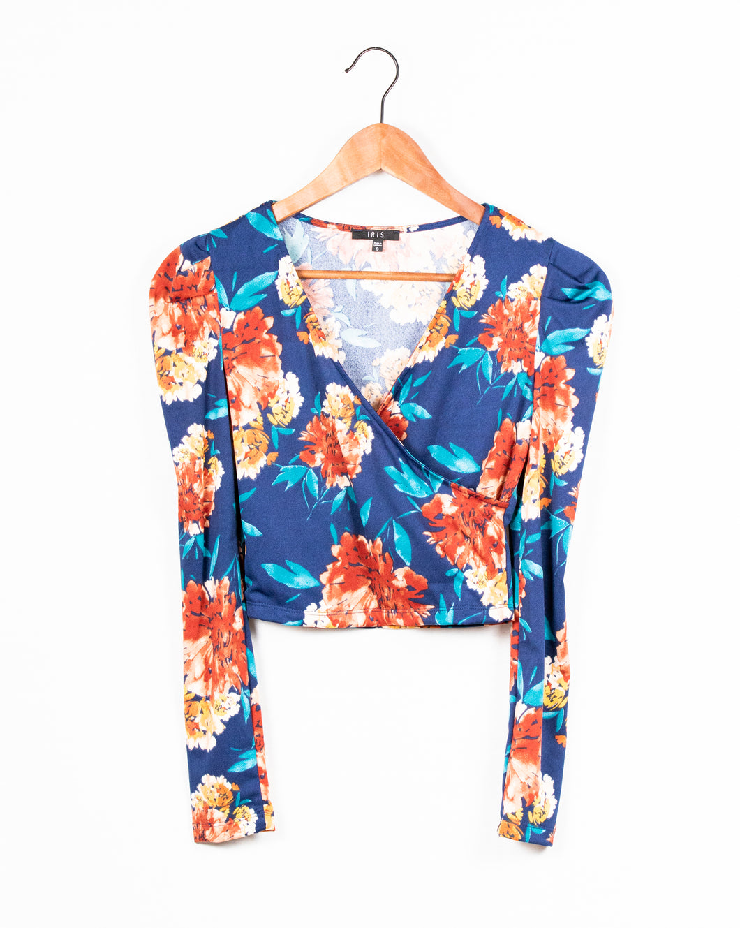 L/S FLORAL ROUCHED SHOULDER SHIRT - 512 In Style