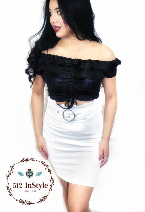 FITTED BELTED SKIRT - 512 In Style