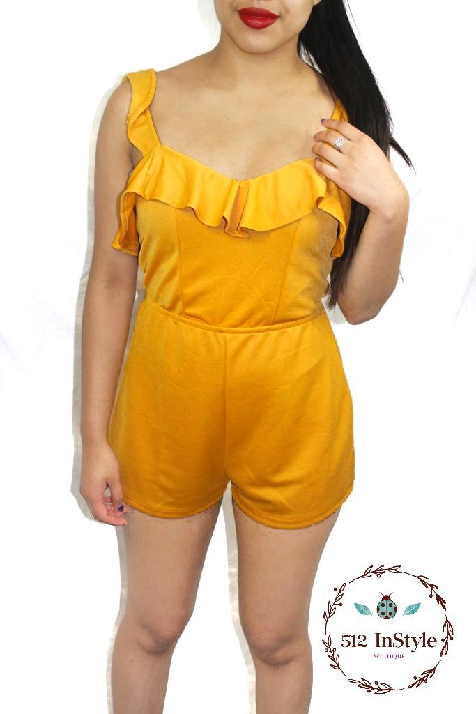 FRONT TIE SOLID ROMPER - 512 In Style