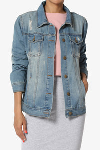 DISTRESSED BASIC DENIM JACKET - 512 In Style