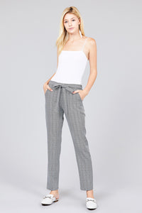 SELF RIBBON DETAIL CHECKED WOVEN ANKLE PANTS - 512 In Style