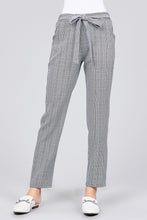Load image into Gallery viewer, SELF RIBBON DETAIL CHECKED WOVEN ANKLE PANTS - 512 In Style