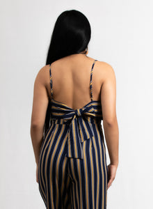 STRIPED BACK SELF-TIE JUMPSUIT - 512 In Style
