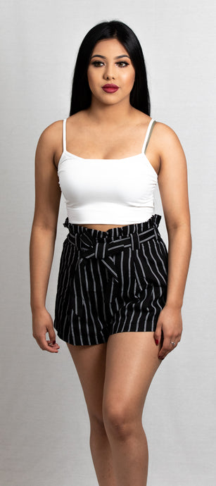 PIN STRIPE BELTED MINI SHORTS - 512 In Style