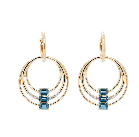 Aretes con topacio London blue