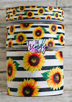 "7/8"", 1.5"" & 3"" Glittered Sunflowers on Black Stripes - Heat Transfer - BY THE YARD"