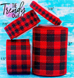 "3/8"", 7/8"", 1.5"", & 3"" Buffalo Plaid on Red - 5yd Roll"
