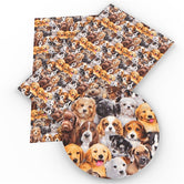 """Puppies!"" - Faux Leather Printed Fabric Sheet"