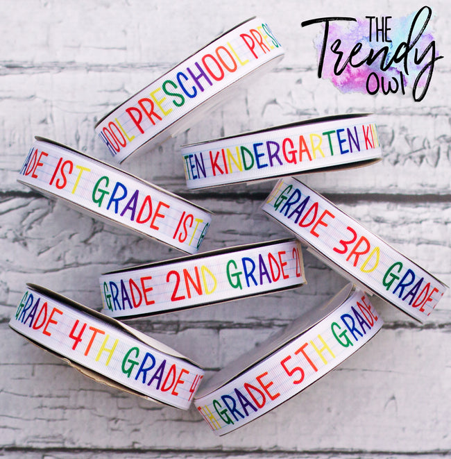 "7/8"" Grade Levels - Heat Transfer Printed - BY THE YARD"