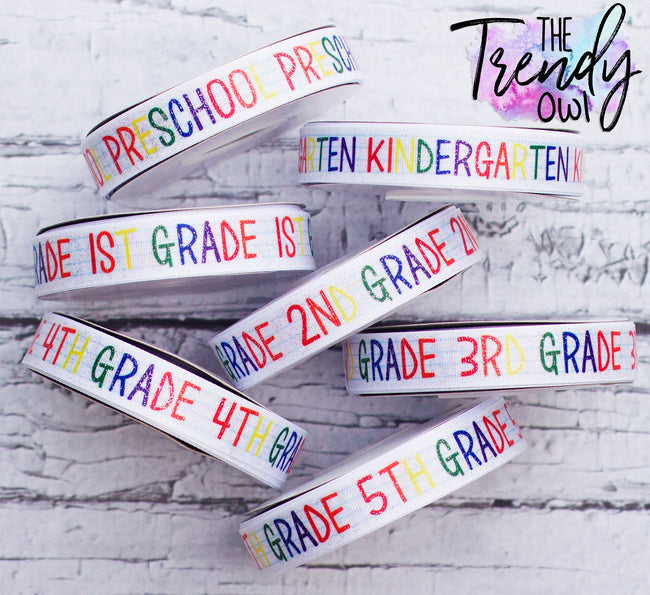"7/8"" Glittered Grade Levels - Heat Transfer Printed - BY THE YARD"