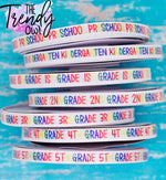 "3/8"" Glittered Grade Levels - Heat Transfer Printed - BY THE YARD"