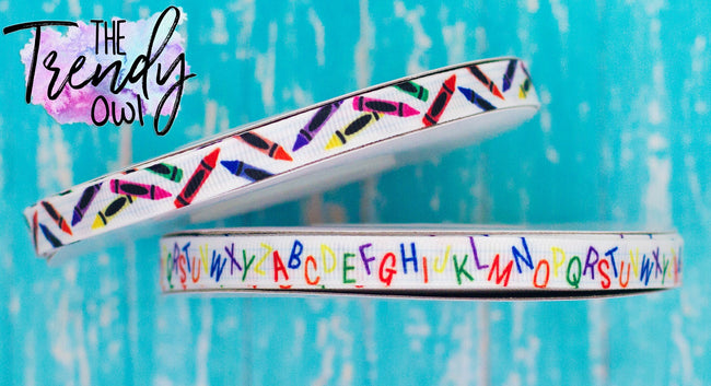 "3/8"" Crayons & Alphabet - Heat Transfer Printed - BY THE YARD"