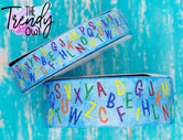 "7/8"" & 1.5"" Glittered Alphabet On Light Denim Heat Transfer - BY THE YARD"