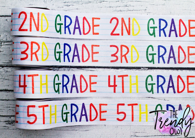 "3"" Glittered Grade Levels - Heat Transfer Printed - BY THE YARD"