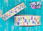 "7/8"" & 1.5"" Glittered Alphabet on Lined Paper Heat Transfer - BY THE YARD"
