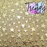 Gold Stars on Gold Glitter Skinnies! - THIN Fabric Sheets