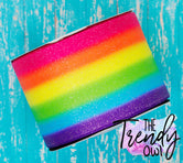 "3"" Glittered Bright Rainbow Stripes - Heat Transfer Printed - BY THE YARD"
