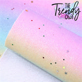"""Pastel Rainbow Gradient w/ Confetti"" Fine Glitter Skinnies! - THIN Fabric Sheets"