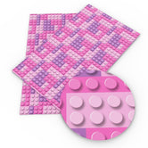 """Girly Legos"" - Faux Leather Printed Fabric Sheet"