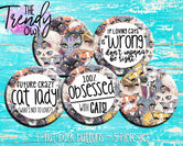 """Cat Craze"" 1"" Flat Back Buttons - 5pc"