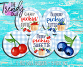 """Berry Picking"" 1"" Flat Back Buttons - 5pc"