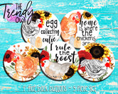 """Chickens!"" 1"" Flat Back Buttons - 5pc"