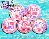 """Aloha Floral"" 1"" Flat Back Buttons - 5pc"