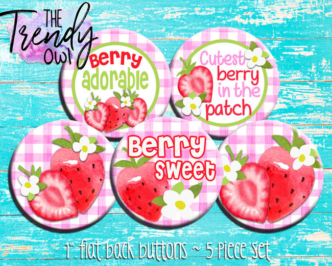 """Sweet Strawberries"" 1"" Flat Back Buttons - 5pc"