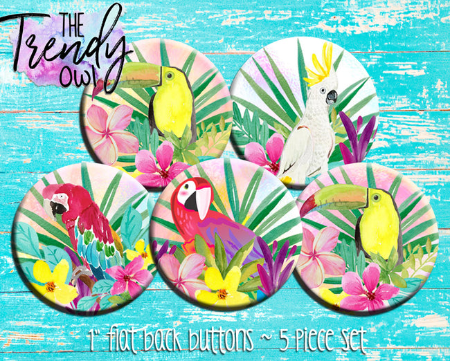 """Tropical Birds"" 1"" Flat Back Buttons - 5pc"