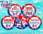"""American Cheer"" 1"" Flat Back Buttons - 5pc"