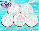 """Beach Sand Dollars"" 1"" Flat Back Buttons - 5pc"