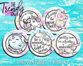 """Believe In Magic Unicorns"" 1"" Flat Back Buttons - 5pc"