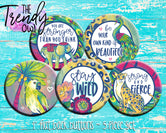 """Wild Jungle Animals"" 1"" Flat Back Buttons - 5pc"