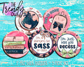 """Back To School - Rose Gold Glitter"" 1"" Flat Back Buttons - 5pc"