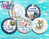 """Road Trip Travel"" 1"" Flat Back Buttons - 5pc"