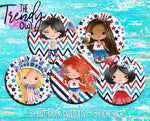 """Patriotic Sweetheart"" 1"" Flat Back Buttons - 5pc"