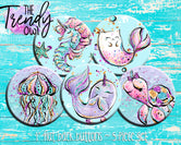 """Sea Cuties"" 1"" Flat Back Buttons - 5pc"