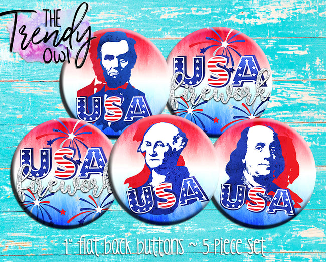 """USA Icons"" 1"" Flat Back Buttons - 5pc"