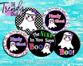 """Nerdy Ghoul"" 1"" Flat Back Buttons - 5pc"