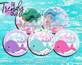 """Whaley Cute and Mermazing"" Whales & Mermaids 1"" Flat Back Buttons - 5pc"