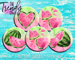 """Pink Watercolor Watermelons"" 1"" Flat Back Buttons - 5pc"