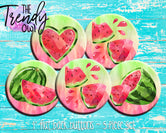 """Red Watercolor Watermelons"" 1"" Flat Back Buttons - 5pc"